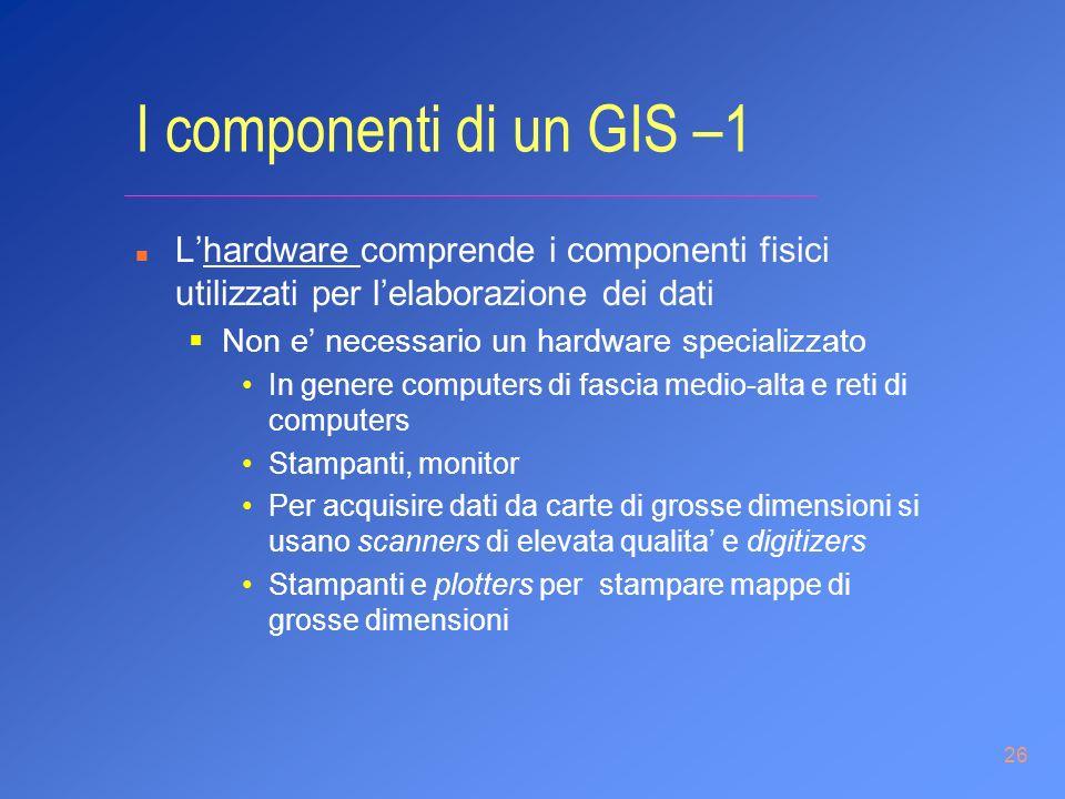 26 I componenti di un GIS –1 n Lhardware comprende i componenti fisici utilizzati per lelaborazione dei dati Non e necessario un hardware specializzat