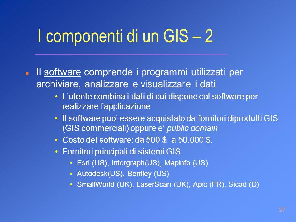 27 I componenti di un GIS – 2 n Il software comprende i programmi utilizzati per archiviare, analizzare e visualizzare i dati Lutente combina i dati d