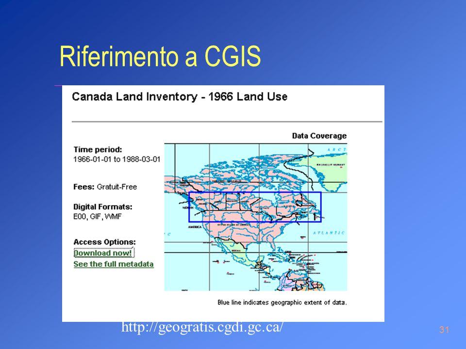 31 http://geogratis.cgdi.gc.ca/ Riferimento a CGIS
