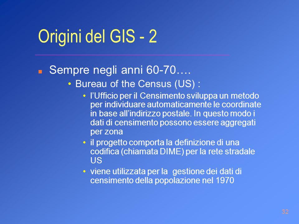 32 Origini del GIS - 2 n Sempre negli anni 60-70…. Bureau of the Census (US) : lUfficio per il Censimento sviluppa un metodo per individuare automatic
