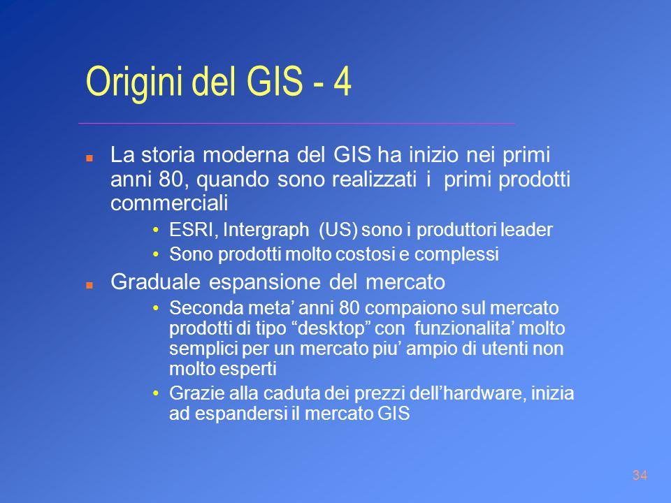 34 Origini del GIS - 4 n La storia moderna del GIS ha inizio nei primi anni 80, quando sono realizzati i primi prodotti commerciali ESRI, Intergraph (