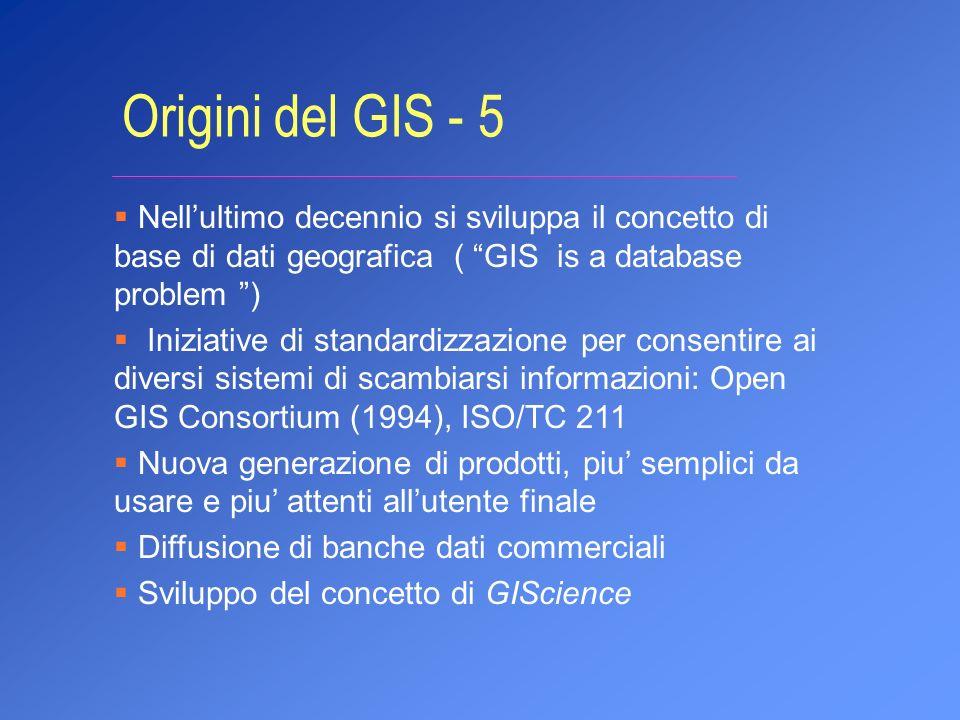 Nellultimo decennio si sviluppa il concetto di base di dati geografica ( GIS is a database problem ) Iniziative di standardizzazione per consentire ai