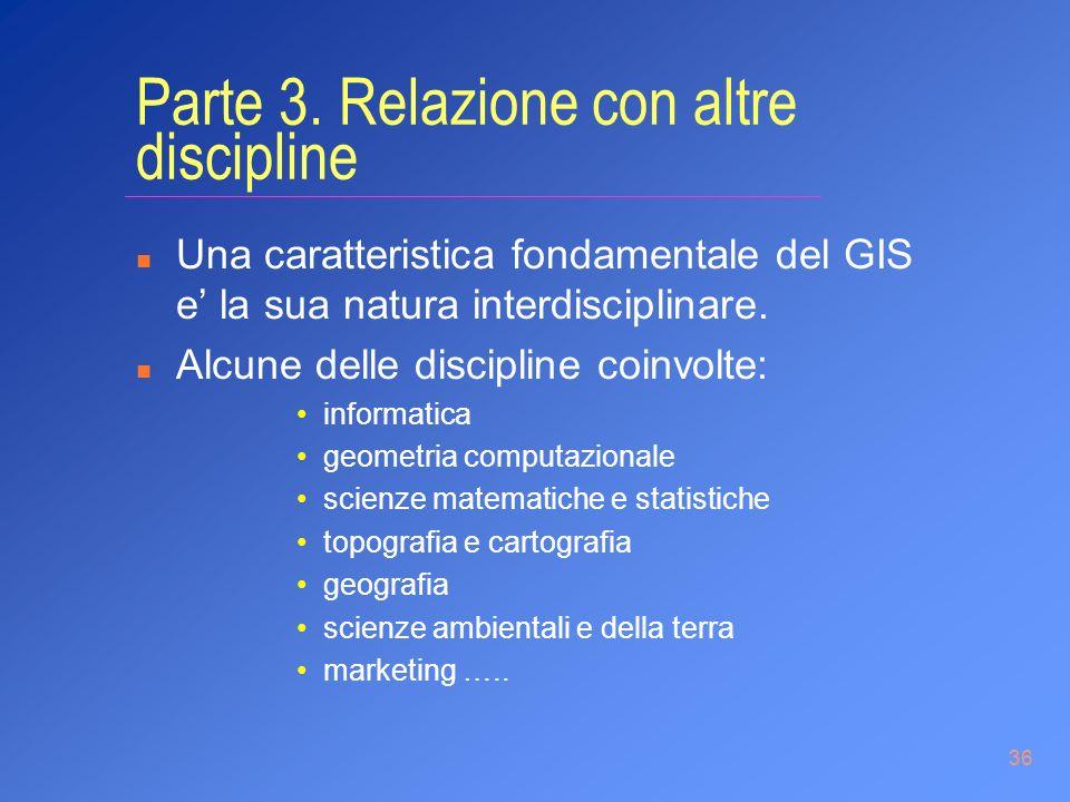 36 Parte 3. Relazione con altre discipline n Una caratteristica fondamentale del GIS e la sua natura interdisciplinare. n Alcune delle discipline coin