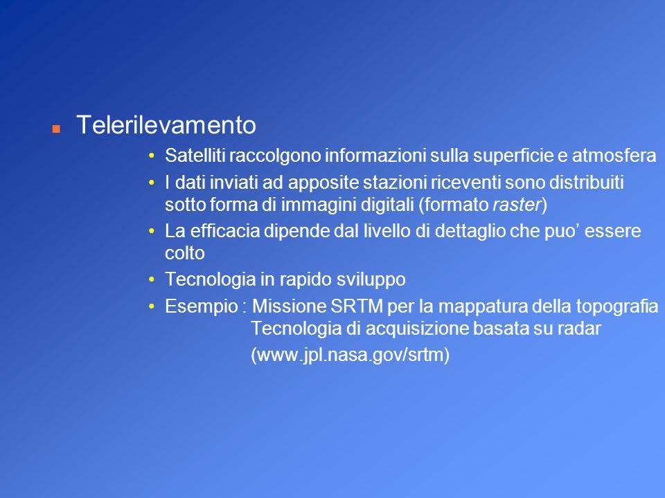n Telerilevamento Satelliti raccolgono informazioni sulla superficie e atmosfera I dati inviati ad apposite stazioni riceventi sono distribuiti sotto