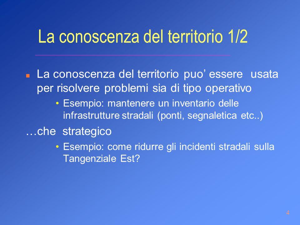 4 La conoscenza del territorio 1/2 n La conoscenza del territorio puo essere usata per risolvere problemi sia di tipo operativo Esempio: mantenere un