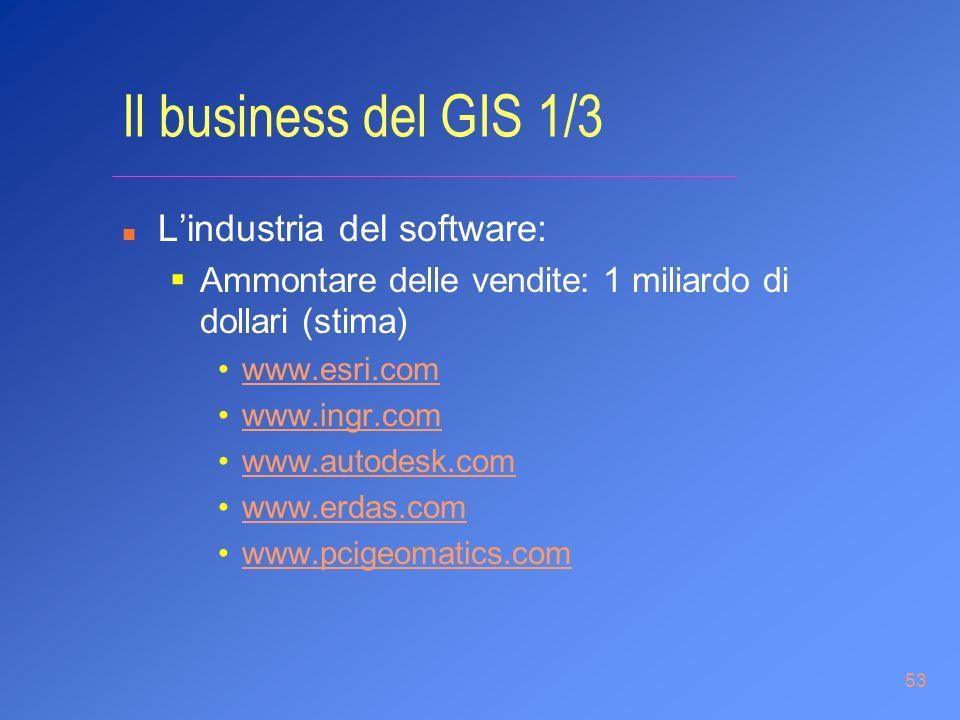 53 Il business del GIS 1/3 n Lindustria del software: Ammontare delle vendite: 1 miliardo di dollari (stima) www.esri.com www.ingr.com www.autodesk.co