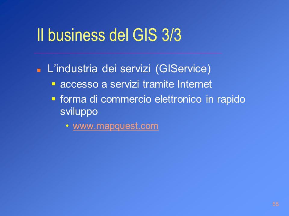 55 Il business del GIS 3/3 n Lindustria dei servizi (GIService) accesso a servizi tramite Internet forma di commercio elettronico in rapido sviluppo w