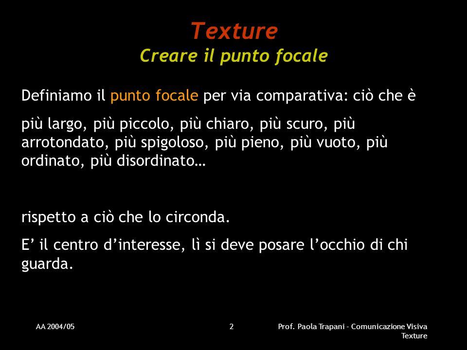 AA 2004/05Prof. Paola Trapani - Comunicazione Visiva Texture 2 Texture Creare il punto focale Definiamo il punto focale per via comparativa: ciò che è
