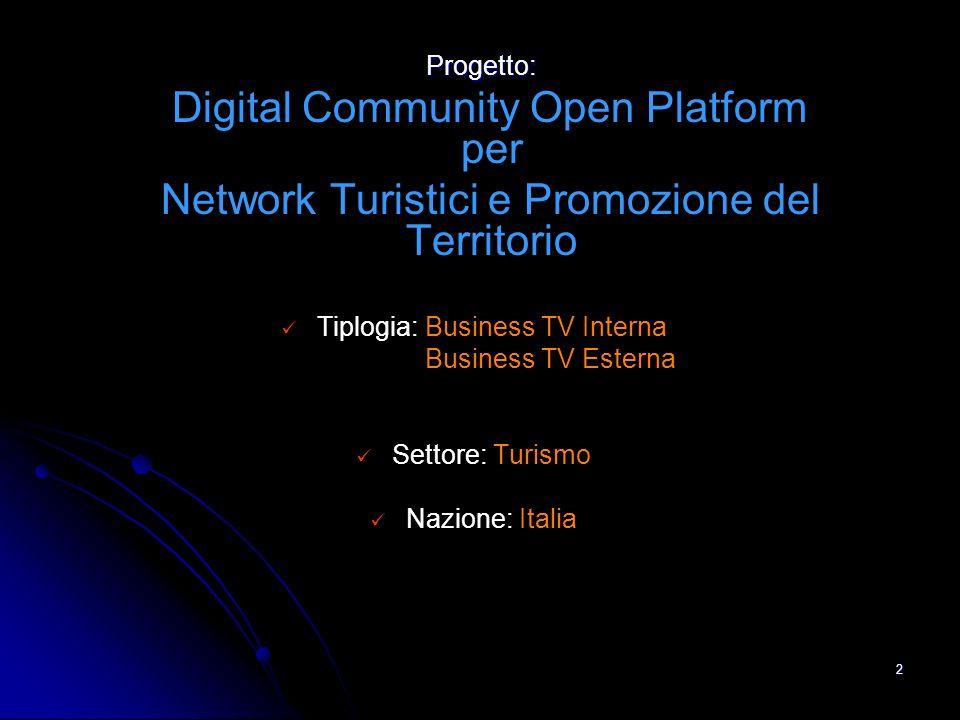 2 Progetto: Progetto: Digital Community Open Platform per Network Turistici e Promozione del Territorio Tiplogia: Business TV Interna Business TV Esterna Settore: Turismo Nazione: Italia