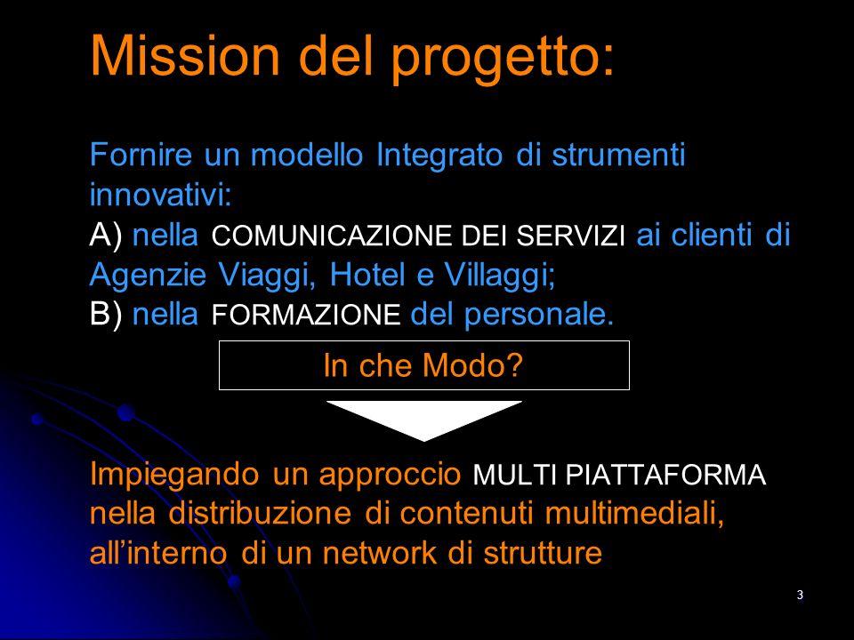 3 Mission del progetto: Fornire un modello Integrato di strumenti innovativi: A) nella COMUNICAZIONE DEI SERVIZI ai clienti di Agenzie Viaggi, Hotel e Villaggi; B) nella FORMAZIONE del personale.