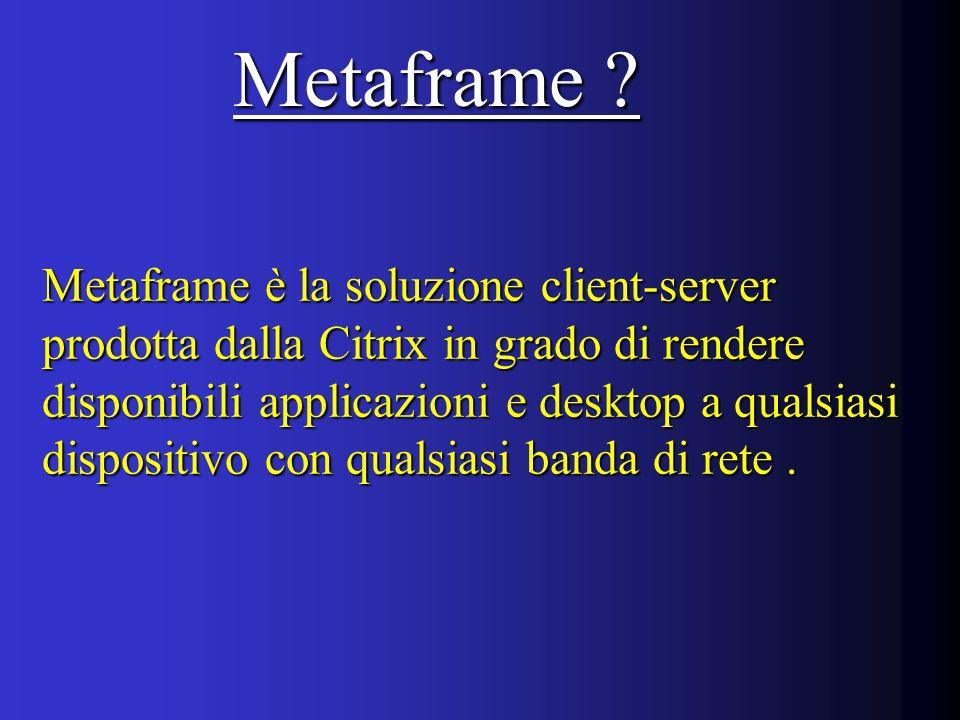 Metaframe è la soluzione client-server prodotta dalla Citrix in grado di rendere disponibili applicazioni e desktop a qualsiasi dispositivo con qualsiasi banda di rete.