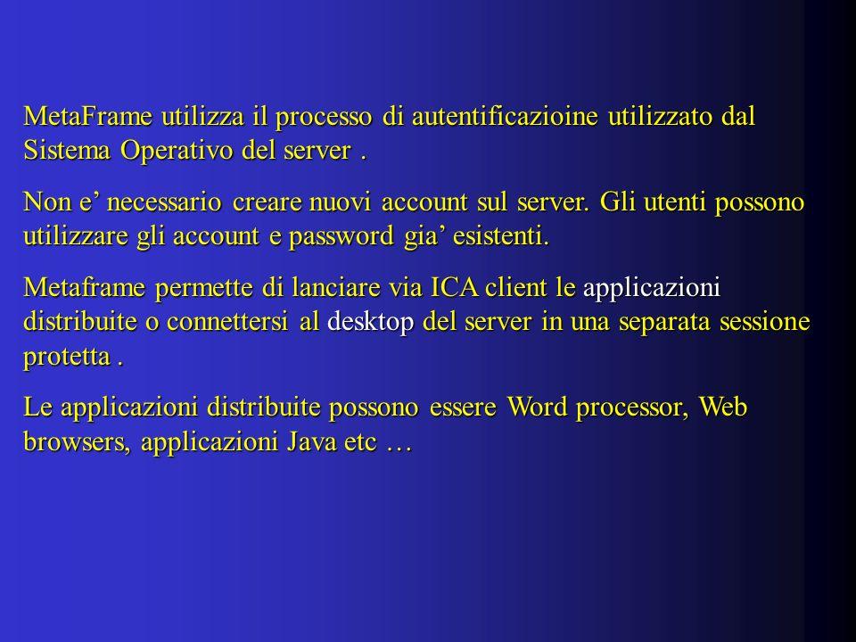 MetaFrame utilizza il processo di autentificazioine utilizzato dal Sistema Operativo del server.