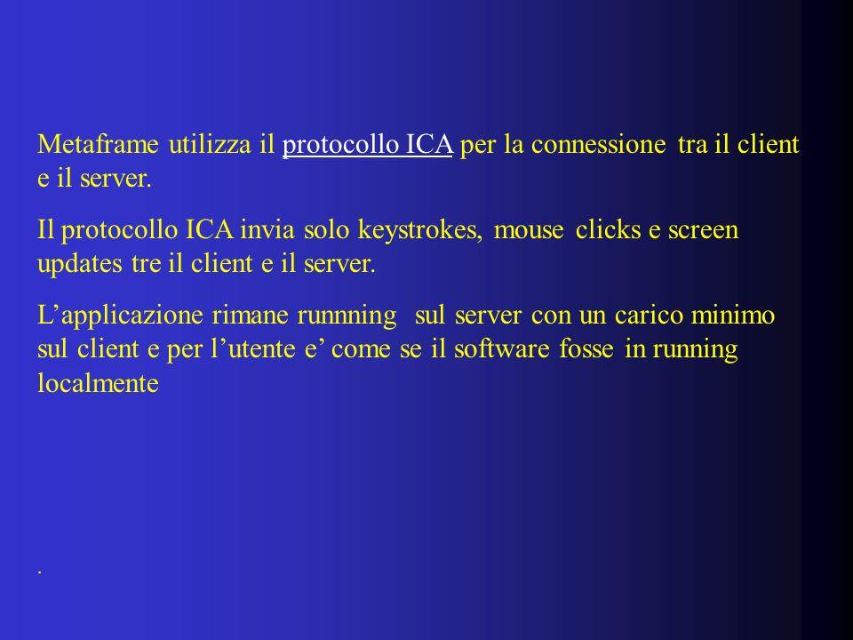Metaframe utilizza il protocollo ICA per la connessione tra il client e il server.