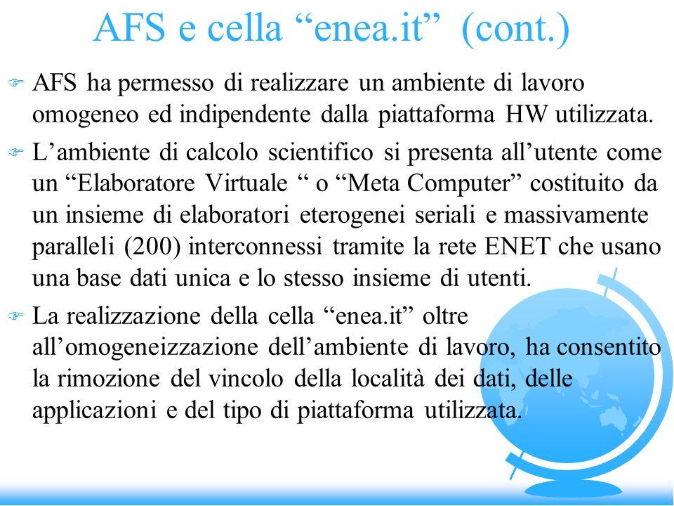 AFS e cella enea.it (cont.) F AFS ha permesso di realizzare un ambiente di lavoro omogeneo ed indipendente dalla piattaforma HW utilizzata. F Lambient