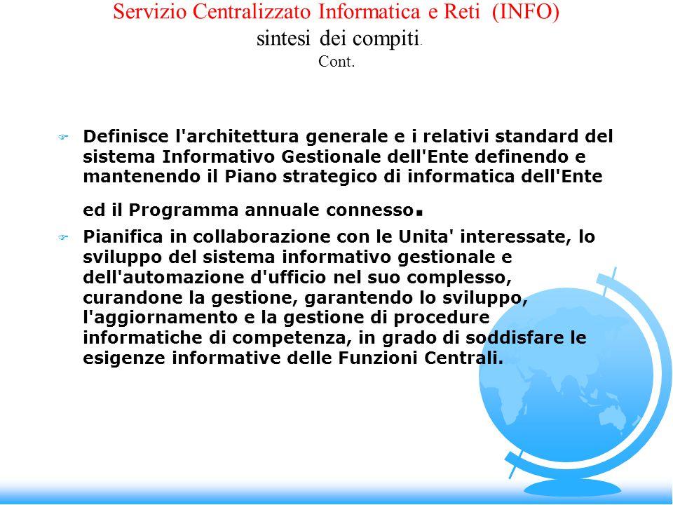 Servizio Centralizzato Informatica e Reti (INFO) sintesi dei compiti. Cont. F Definisce l'architettura generale e i relativi standard del sistema Info