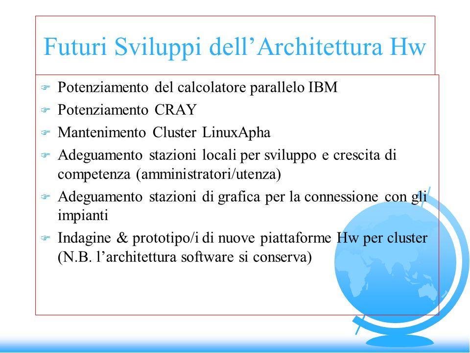Futuri Sviluppi dellArchitettura Hw F Potenziamento del calcolatore parallelo IBM F Potenziamento CRAY F Mantenimento Cluster LinuxApha F Adeguamento