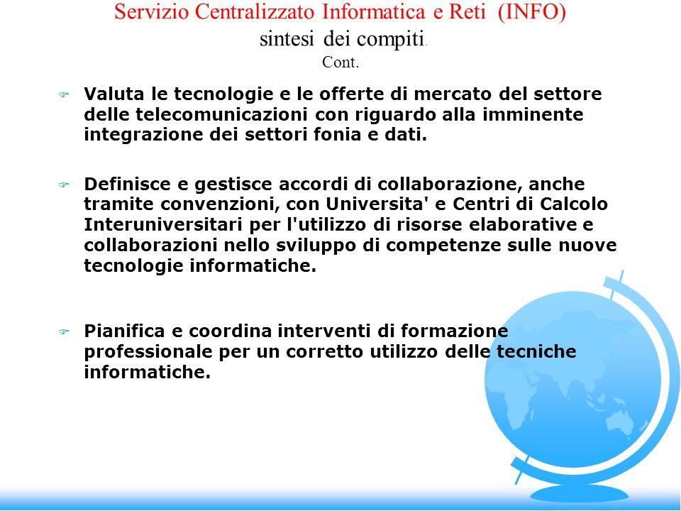 Servizio Centralizzato Informatica e Reti (INFO) sintesi dei compiti. Cont. F Valuta le tecnologie e le offerte di mercato del settore delle telecomun