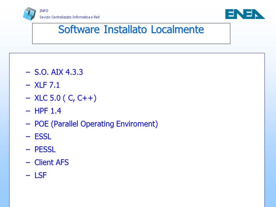 INFO Sevizio Centralizzato Informatica e Reti Casaccia, 5, 06, 2002 Infrastrutture e Servizi per il Calcolo Scientifico FRASCATI 12 XLF 7.1 Supporto F77, F90, F95, OpenMP e direttive SMPSupporto F77, F90, F95, OpenMP e direttive SMP Ottimizzazione di alto livello tramite Interprocedural AnalysisOttimizzazione di alto livello tramite Interprocedural Analysis –xlf -c -O5 (ottimizzazione estrema) -qnostrict (preserva la sintassi ANSI)-qnostrict (preserva la sintassi ANSI) -qsmp (supporto multiprocessor)-qsmp (supporto multiprocessor) -q64 (compilazione 64bit nativi)-q64 (compilazione 64bit nativi)