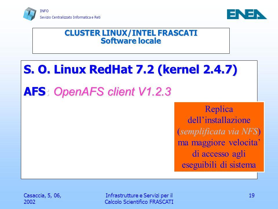INFO Sevizio Centralizzato Informatica e Reti Casaccia, 5, 06, 2002 Infrastrutture e Servizi per il Calcolo Scientifico FRASCATI 20 Tools di sviluppo Compilatori Portland GroupCompilatori Portland Group (cc, f77/90, c++, hpf, OpenMP) con MPICH Compilatori GNU (gcc, g77, g++)Compilatori GNU (gcc, g77, g++) MPI LAM V6.5.6MPI LAM V6.5.6 (Ohio Supercomputer Centre) CLUSTER LINUX/INTEL FRASCATI Configurazione Hardware