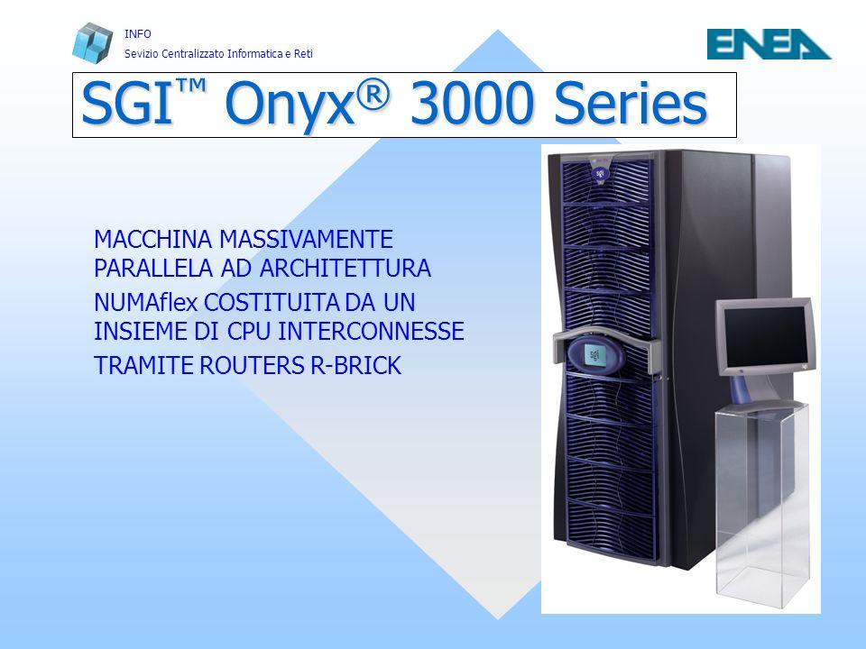 INFO Sevizio Centralizzato Informatica e Reti Casaccia, 5, 06, 2002 Infrastrutture e Servizi per il Calcolo Scientifico FRASCATI 28 Minimum (16p) System 128p System 128P System Topology R Rack 1 C C C C R C C C C R Rack 2 C C C C R C C C C R Rack 3 C C C C R C C C C R Rack 4 C C C C R C C C C 1234 R-Brick 8-port router Power Bay I-Brick C-Brick Power Bay R-Brick C-Brick Power Bay R-Brick P-Brick G-Brick SGI Onyx ® 3800 (16-512p, 1-16 pipes)