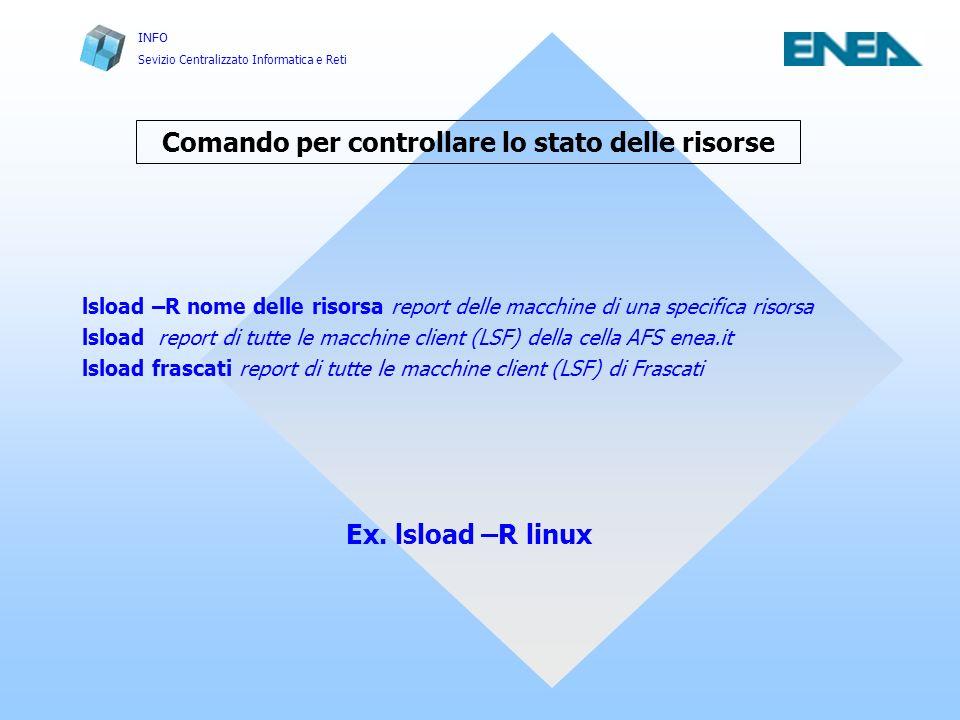 INFO Sevizio Centralizzato Informatica e Reti Run di un job seriale Scheduler LSF Comando bsub Dal prompt di una Shell Unix di una macchina (AFS – LSF) CLIENT della cella enea.it scrivere: bsub –R nome della risorsa* –q nome della coda ** my_programm dove: * nome della risorsa può essere uguale a ( sp2, sp3 o linux ) ** nome della coda può essere uguale a ( small_10m, medium_2h, large ).