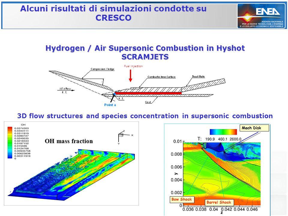 Hydrogen / Air Supersonic Combustion in Hyshot SCRAMJETS 3D flow structures and species concentration in supersonic combustion Fuel Injection OH mass fraction Alcuni risultati di simulazioni condotte su CRESCO