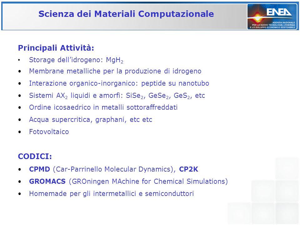 Scienza dei Materiali Computazionale Principali Attività: Storage dellidrogeno: MgH 2 Membrane metalliche per la produzione di idrogeno Interazione or