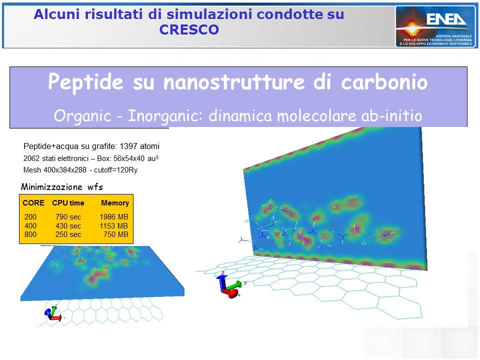 Alcuni risultati di simulazioni condotte su CRESCO Peptide su nanostrutture di carbonio Organic - Inorganic: dinamica molecolare ab-initio