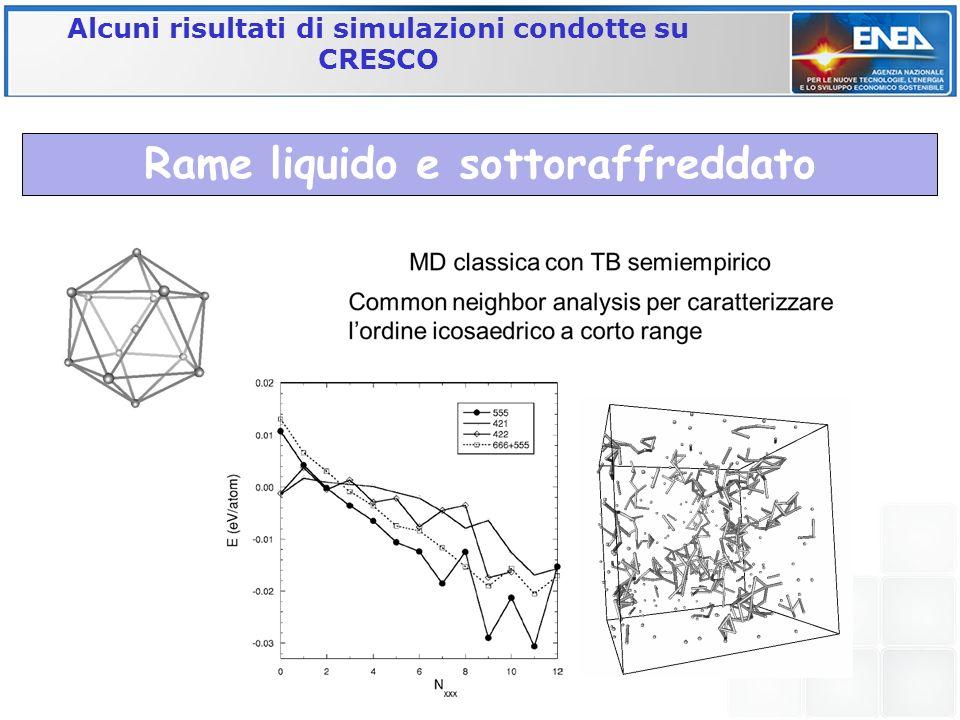 Alcuni risultati di simulazioni condotte su CRESCO Rame liquido e sottoraffreddato