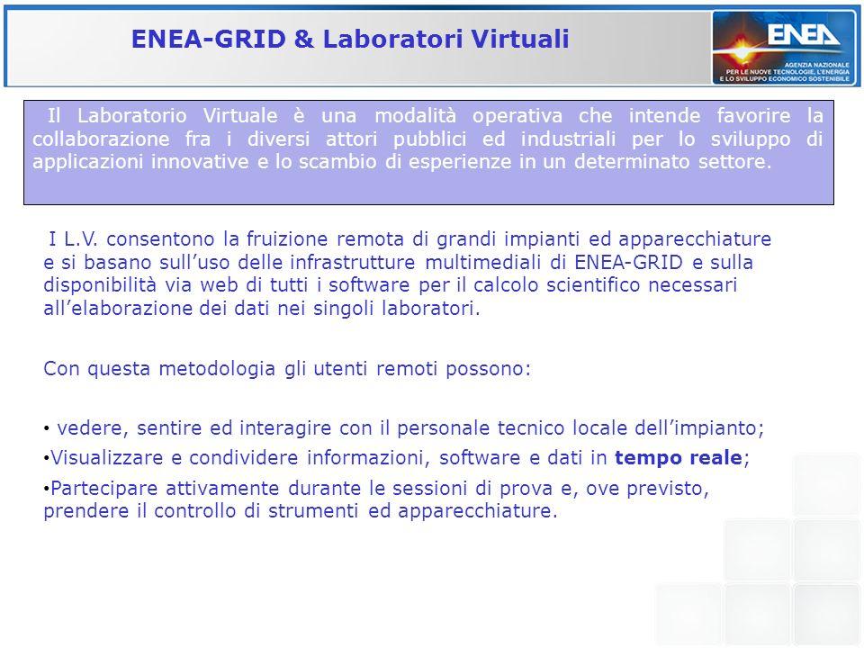 ENEA-GRID & Laboratori Virtuali I L.V. consentono la fruizione remota di grandi impianti ed apparecchiature e si basano sulluso delle infrastrutture m