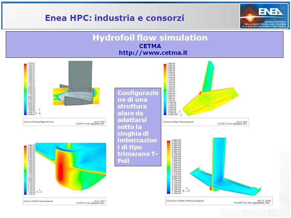 Hydrofoil flow simulation CETMA http://www.cetma.it Enea HPC: industria e consorzi Configurazio ne di una struttura alare da adattarsi sotto la cinghi
