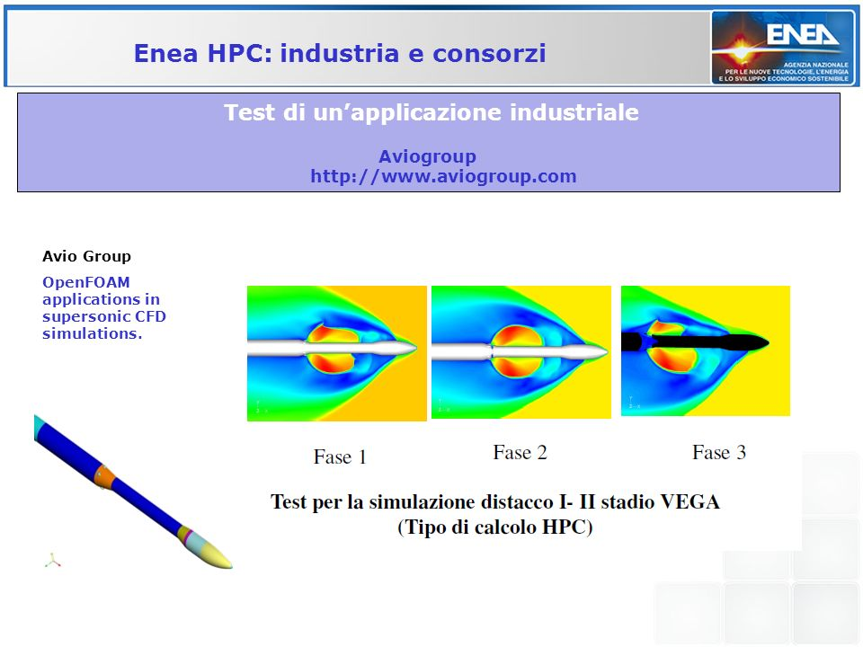 Test di unapplicazione industriale Aviogroup http://www.aviogroup.com Enea HPC: industria e consorzi Avio Group OpenFOAM applications in supersonic CF