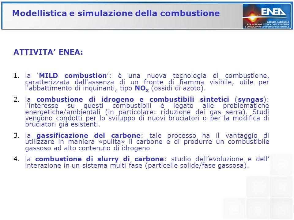 ATTIVITA ENEA: 1.la MILD combustion: è una nuova tecnologia di combustione, caratterizzata dall'assenza di un fronte di fiamma visibile, utile per l'a