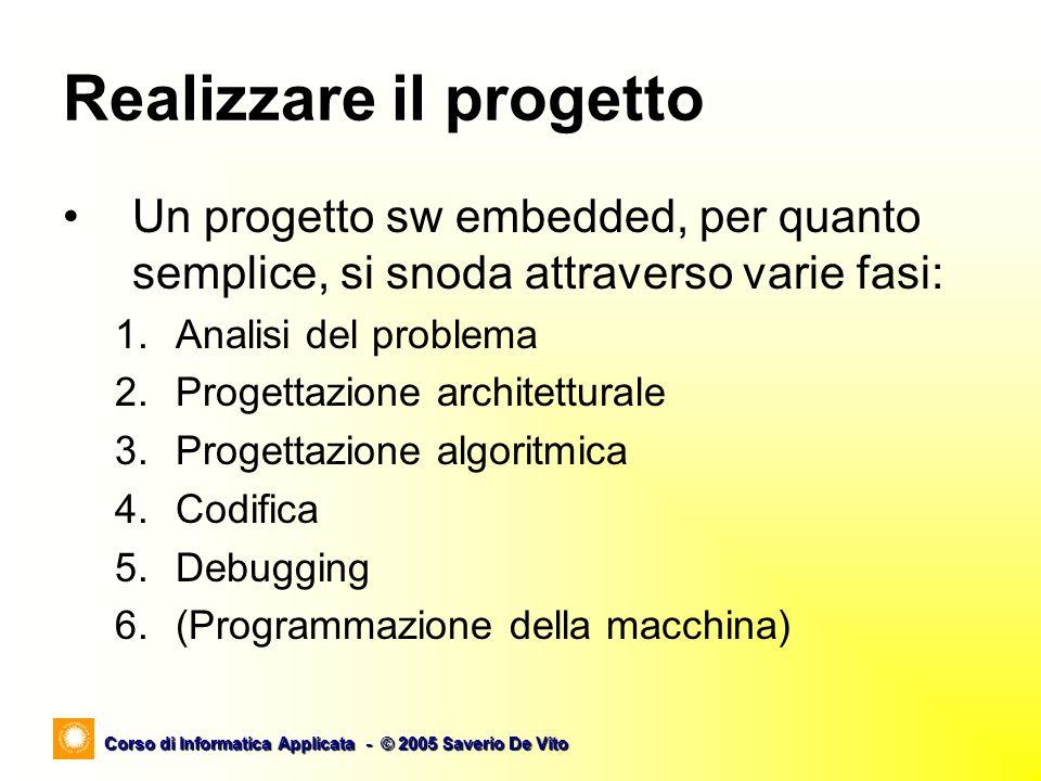 Corso di Informatica Applicata - © 2005 Saverio De Vito Realizzare il progetto Un progetto sw embedded, per quanto semplice, si snoda attraverso varie fasi: 1.Analisi del problema 2.Progettazione architetturale 3.Progettazione algoritmica 4.Codifica 5.Debugging 6.(Programmazione della macchina)