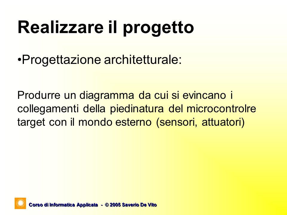Corso di Informatica Applicata - © 2005 Saverio De Vito Realizzare il progetto Progettazione algoritmica: Produrre un diagramma di flusso (flow chart) o una descrizione in pseudocodice dell algoritmo individuato.