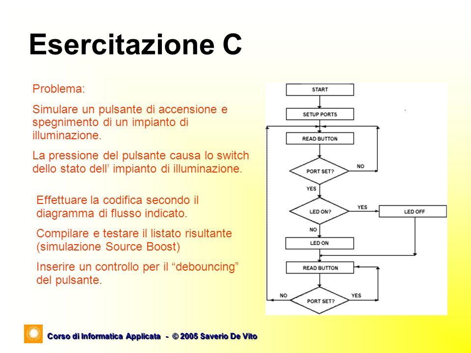 Corso di Informatica Applicata - © 2005 Saverio De Vito Esercitazione C Problema: Simulare un pulsante di accensione e spegnimento di un impianto di illuminazione.