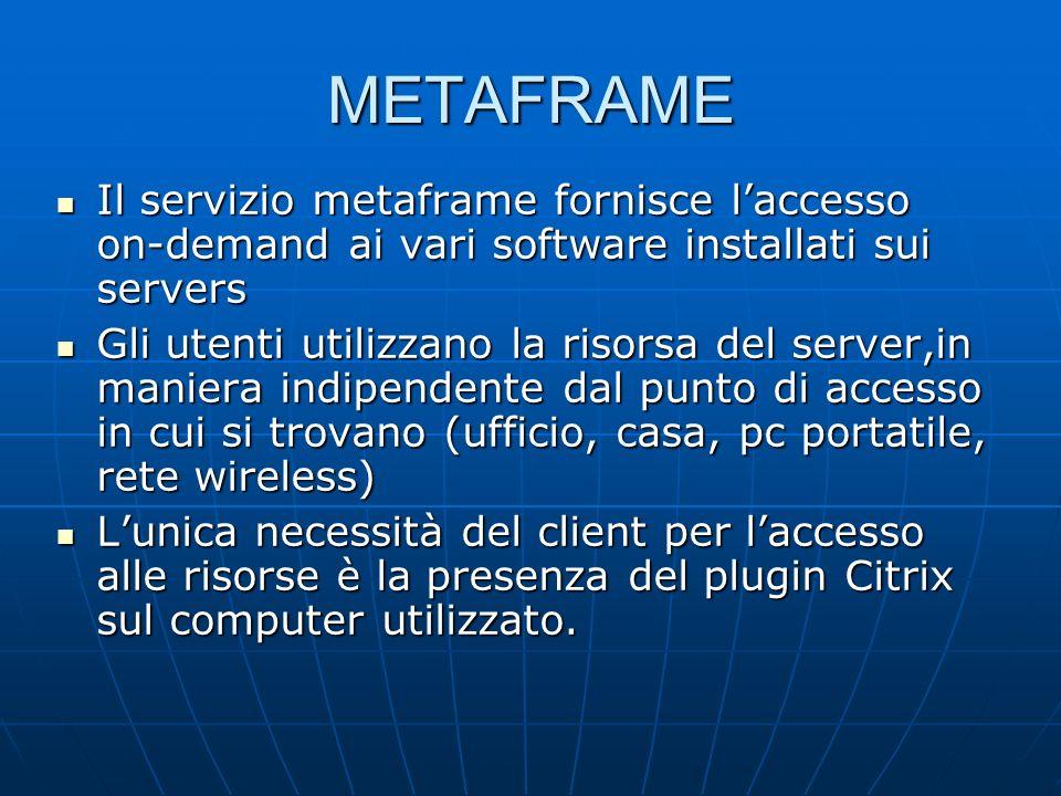 METAFRAME Il servizio metaframe fornisce laccesso on-demand ai vari software installati sui servers Il servizio metaframe fornisce laccesso on-demand