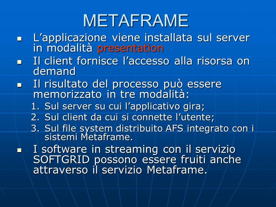 METAFRAME Lapplicazione viene installata sul server in modalità presentation Lapplicazione viene installata sul server in modalità presentation Il client fornisce laccesso alla risorsa on demand Il client fornisce laccesso alla risorsa on demand Il risultato del processo può essere memorizzato in tre modalità: Il risultato del processo può essere memorizzato in tre modalità: 1.Sul server su cui lapplicativo gira; 2.Sul client da cui si connette lutente; 3.Sul file system distribuito AFS integrato con i sistemi Metaframe.