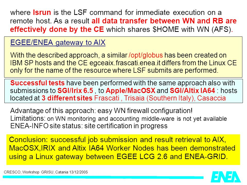 CRESCO, Workshop GRISU, Catania 13/12/2005 where lsrun is the LSF command for immediate execution on a remote host. As a result all data transfer betw