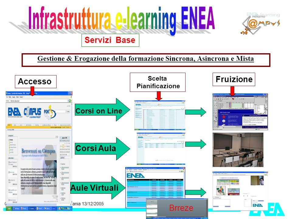 CRESCO, Workshop GRISU, Catania 13/12/2005 Gestione & Erogazione della formazione Sincrona, Asincrona e Mista Servizi Base Accesso Scelta Pianificazio