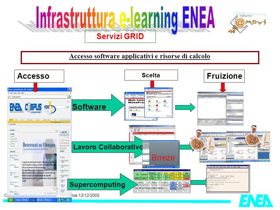 CRESCO, Workshop GRISU, Catania 13/12/2005 Accesso software applicativi e risorse di calcolo Servizi GRID Accesso Scelta Fruizione Software Supercompu