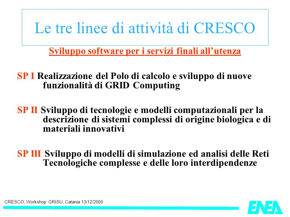 CRESCO, Workshop GRISU, Catania 13/12/2005 Le tre linee di attività di CRESCO Sviluppo software per i servizi finali allutenza SP I Realizzazione del