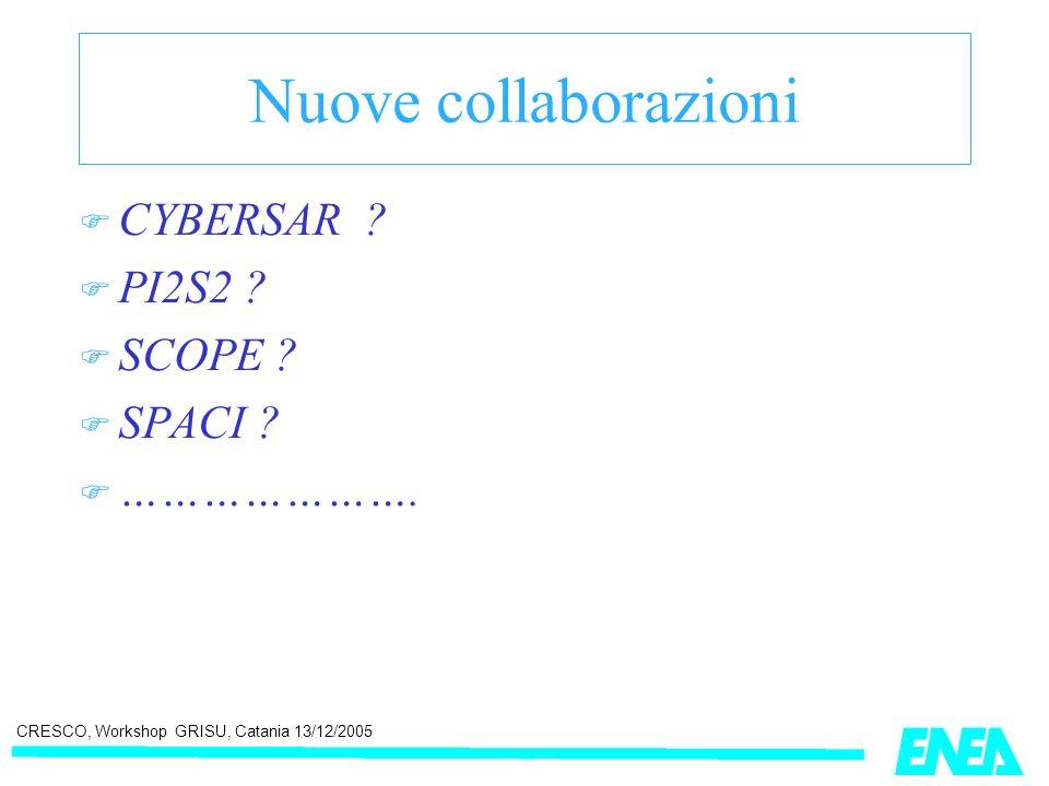 CRESCO, Workshop GRISU, Catania 13/12/2005 Nuove collaborazioni CYBERSAR ? PI2S2 ? SCOPE ? SPACI ? ………………….