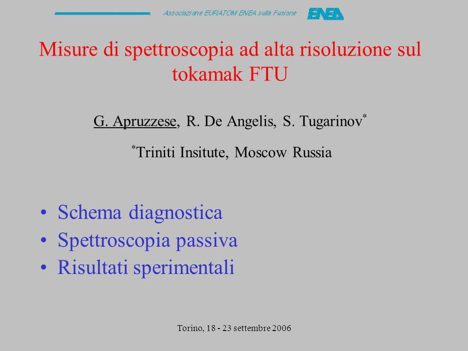 Torino, 18 - 23 settembre 2006 Schema diagnostica Ottica di raccolta Spettrometro ad alta risoluzione