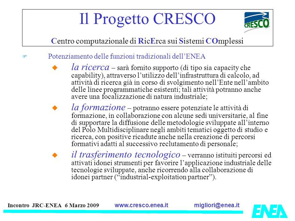 migliori@enea.itwww.cresco.enea.it Incontro JRC-ENEA 6 Marzo 2009 Il Progetto CRESCO Centro computazionale di RicErca sui Sistemi COmplessi Potenziame