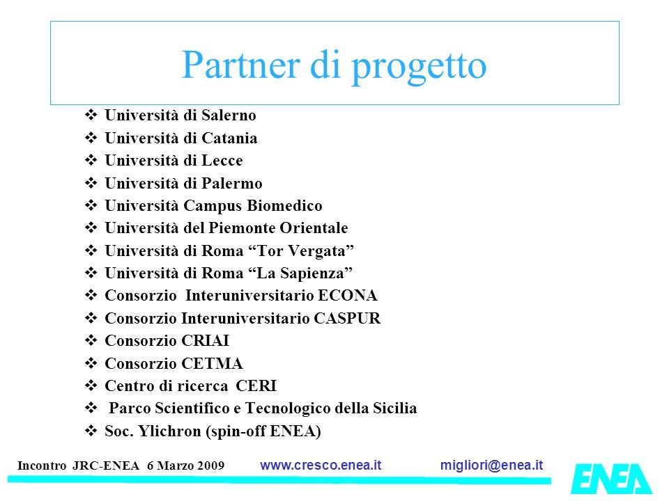 migliori@enea.itwww.cresco.enea.it Incontro JRC-ENEA 6 Marzo 2009 Partner di progetto Università di Salerno Università di Catania Università di Lecce