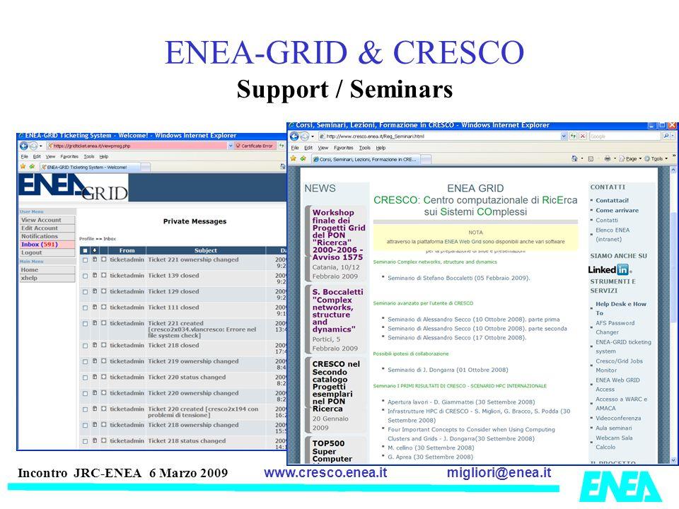 migliori@enea.itwww.cresco.enea.it Incontro JRC-ENEA 6 Marzo 2009 ENEA-GRID & CRESCO Support / Seminars