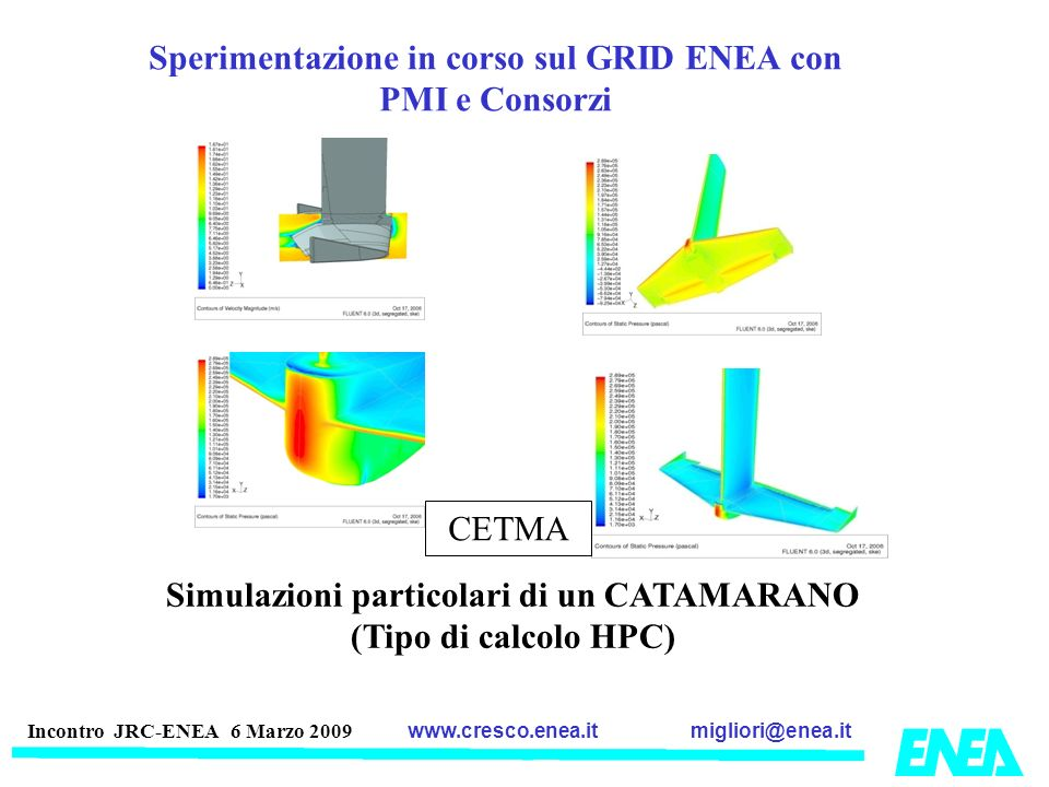 migliori@enea.itwww.cresco.enea.it Incontro JRC-ENEA 6 Marzo 2009 Sperimentazione in corso sul GRID ENEA con PMI e Consorzi Simulazioni particolari di