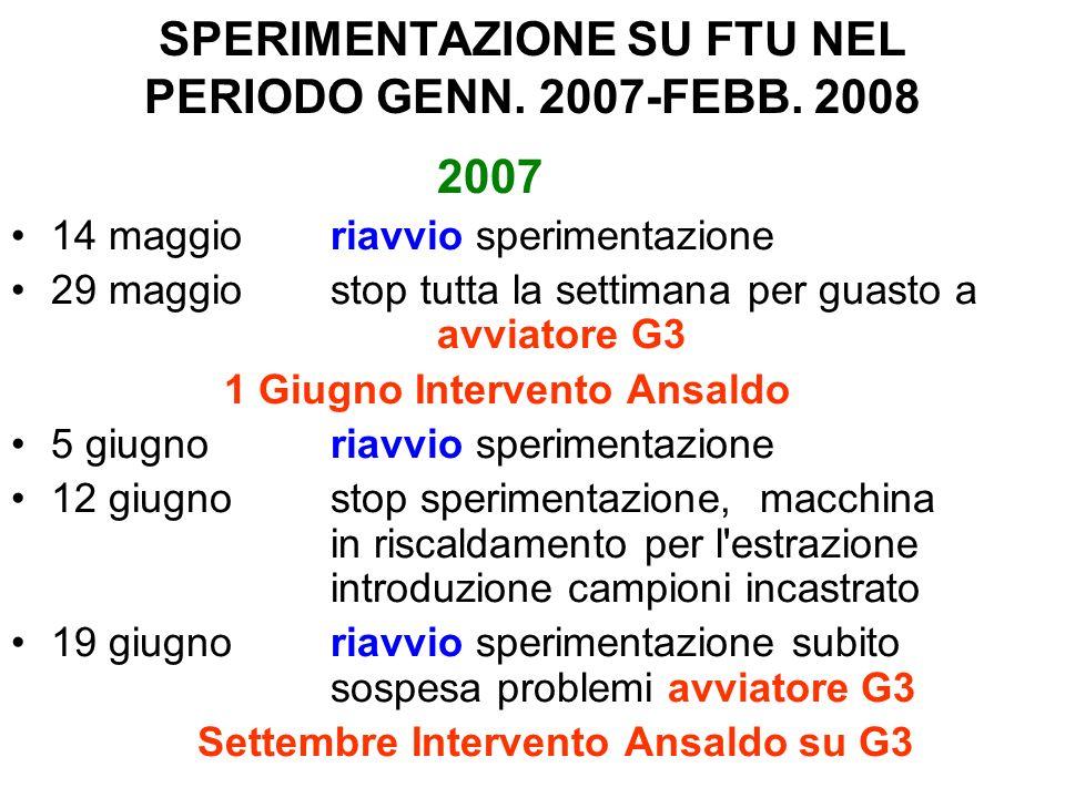 SPERIMENTAZIONE SU FTU NEL PERIODO GENN.2007-FEBB.