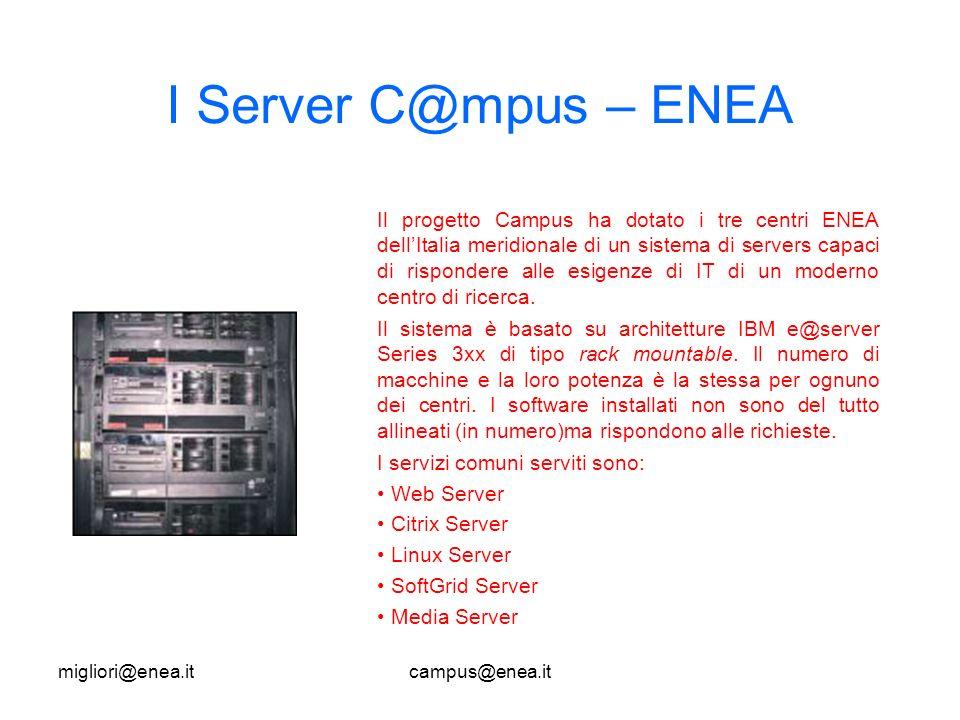 migliori@enea.itcampus@enea.it I Server C@mpus – ENEA Il progetto Campus ha dotato i tre centri ENEA dellItalia meridionale di un sistema di servers capaci di rispondere alle esigenze di IT di un moderno centro di ricerca.